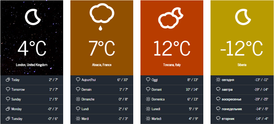 Nice weather forecast widgets with static backgrounds