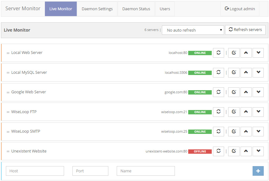 Live monitoring screen offering server online checking and server list management